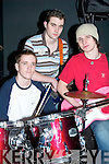 "Drumsticks at the ready- Performing at this years Rock For Experience on Saturday at Benners Hotel, TRALEE were Abbeyfeale based group ""Snuff"".L-R Matthew Bluett, Cian O Sullivan and Shane Flynn..   Copyright Kerry's Eye 2008"