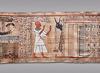 Ancient Egyptian Book of the Dead papyrus  - Aaner Book of the Dead, Thebes - 21st Dynasty (1076-943C).Turin Egyptian Museum. Grey Background<br /> <br /> During the 21st Dynasty the number of spells in Books of the Dead was often reduced in favour of decrative panels. small illustrated vignettes take up a large part of the papytus surface