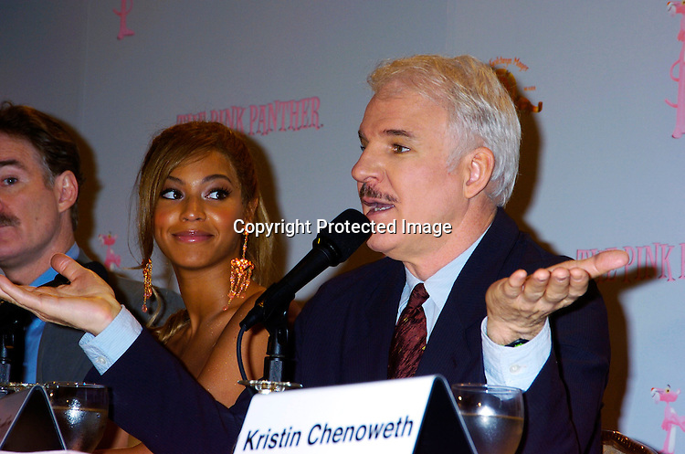 Kevin Kline, Beyonce and Steve Martin ..at the Pink Panther start of Production Press Conference on May 7, 2004 at the Waldorf Astoria Hotel.                    Photo by Robin Platzer, Twin Images