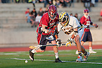 Mission Viejo, CA 05/11/11 - Hunter Edington (St Margaret #8) and Cameron Stone (Foothill-Santa Ana #40) in action during the St Margaret-Foothill boys varsity lacrosse game at Mission Viejo High School for the 2011 CIF Southern Section South Division Championship.  Foothill defeated St Margaret 15-10.