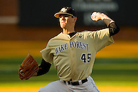 Starting pitcher Brian Holmes #45 of the Wake Forest Demon Deacons in action against the Georgetown Hoyas at Wake Forest Baseball Park on February 26, 2012 in Winston-Salem, North Carolina.  (Brian Westerholt / Four Seam Images)