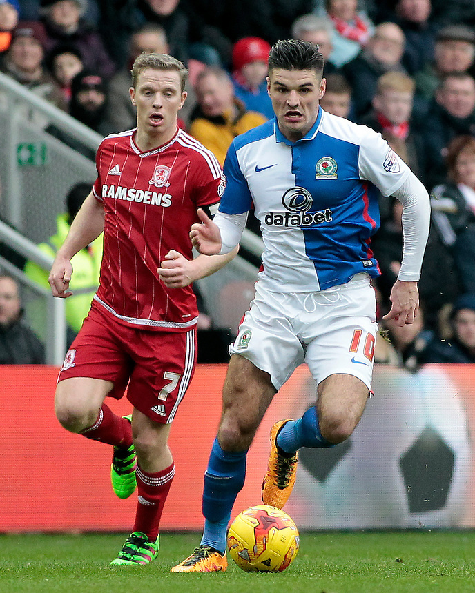 Blackburn Rovers' Ben Marshall gets away from Middlesbrough's Grant Leadbitter<br /> <br /> Photographer David Shipman/CameraSport<br /> <br /> Football - The Football League Sky Bet Championship - Middlesbrough v Blackburn Rovers - Saturday 6th February 2016 - Riverside Stadium - Middlesbrough <br /> <br /> &copy; CameraSport - 43 Linden Ave. Countesthorpe. Leicester. England. LE8 5PG - Tel: +44 (0) 116 277 4147 - admin@camerasport.com - www.camerasport.com