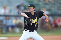 Statesville Owls starting pitcher Trae Starnes (22) (UNC-Charlotte) in action against the Mooresville Spinners at Moor Park on June 14, 2020 in Mooresville, NC.  The Owls defeated the Spinners 8-7 in 10 innings. (Brian Westerholt/Four Seam Images)