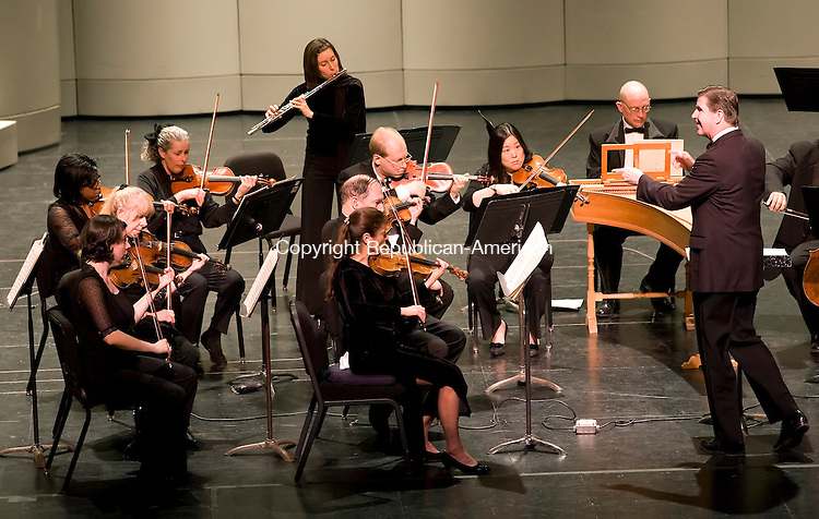 Waterbury, CT-24, January 2010-012410CM02  Maestro Leif Bjaland directs the Waterbury Symphony Orchestra Sunday afternoon at the Naugatuck Valley Community College Fine Arts Center.  The Symphony performed The Four Seasons which is a set of four violin concertos by Antonio Vivaldi. This piece was composed in 1723, and is one of Vivaldi's best-known work. The Orchestra played to a sold out crowd at the Fine Arts Center.  --Christopher Massa Republican-American