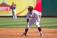 Dylan Becker (27) of the Missouri State Bears leads off of first base during a game against the Southern Illinois University- Edwardsville Cougars at  Hammons Field on March 10, 2012 in Springfield, Missouri. (David Welker / Four Seam Images)