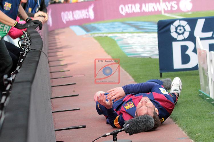 League BBVA 2014/2015. Game: 32.<br /> FC Barcelona vs Valencia CF: 2-0.<br /> Lionel Messi.