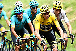 The peloton including race leader Chris Froome (GBR) and Christian Knees (GER) Team Sky during Stage 9 of the 104th edition of the Tour de France 2017, running 181.5km from Nantua to Chambery, France. 9th July 2017.<br /> Picture: ASO/Alex Broadway | Cyclefile<br /> <br /> <br /> All photos usage must carry mandatory copyright credit (&copy; Cyclefile | ASO/Alex Broadway)