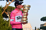 Maglia Rosa Chris Froome (GBR) Team Sky takes the overall victory and now holds all 3 grand tour titles on the podium at the end of Stage 21 of the 2018 Giro d'Italia, running 115km around the centre of Rome, Italy. 27th May 2018.<br /> Picture: LaPresse/Gian Mattia D'Alberto | Cyclefile<br /> <br /> <br /> All photos usage must carry mandatory copyright credit (&copy; Cyclefile | LaPresse/Gian Mattia D'Alberto)