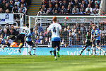 Aleksandar Mitrovic of Newcastle United scores his sides second goal during the Barclays Premier League match at St James' Park. Photo credit should read: Philip Oldham/Sportimage