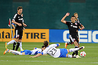 Washington D.C. - May 17, 2014: Davy Arnaud (8) of D.C. United goes against Hernan Bernardello (23) of Montreal Impact. D.C. United tied the Montreal Impact 1-1 during a Major League Soccer match for the 2014 season at RFK Stadium.