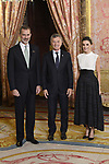 King Felipe VI of Spain (L) and Queen Letizia of Spain (R) receive Argentina's President Mauricio Macri (C) because of the United Nations conference for the Climate Summit 2019 (COP25) at the Royal Palace. December 2,2019. (ALTERPHOTOS/Pool/Carlos Alvarez)