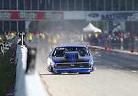 Apr. 26, 2013; Baytown, TX, USA: NHRA pro mod driver Clint Satterfield during qualifying for the Spring Nationals at Royal Purple Raceway. Mandatory Credit: Mark J. Rebilas-