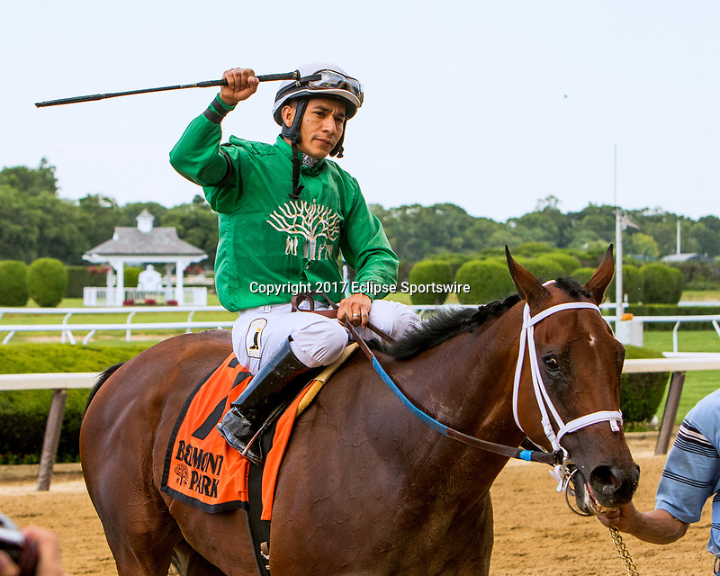 NEW YORKT, NY - JUNE 09:  Roy H, #7 with Paco Lopez. wins the True North Stakes, on June 9, 2017 in Elmont, New York.(Photo by Sue Kawczynski/Eclipse Sportswire/Getty Images)