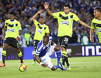 BOGOTA -COLOMBIA- 13 -11--2013. Wason Renteria  (Izq)  de Millonarios  disputa el balon contra Daniel Bocanegra (Der) del Atletico Nacional , encuentro de ida por la final de la Copa Postobon jugado en el estadio Nemesio Camacho El Campin   / Wason Renteria  (L) of Millonarios dispute the ball against Daniel Bocanegra (R) of Atletico Nacional, first leg by Postobón Cup final played at the Estadio Nemesio Camacho El Campin .Photo: VizzorImage / Felipe Caicedol / Staff