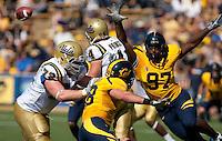 Cameron Jordan (97) pressures quarterback Kevin Prince (4). The California Golden Bears defeated the UCLA Bruins 35-7 at Memorial Stadium in Berkeley, California on October 9th, 2010.