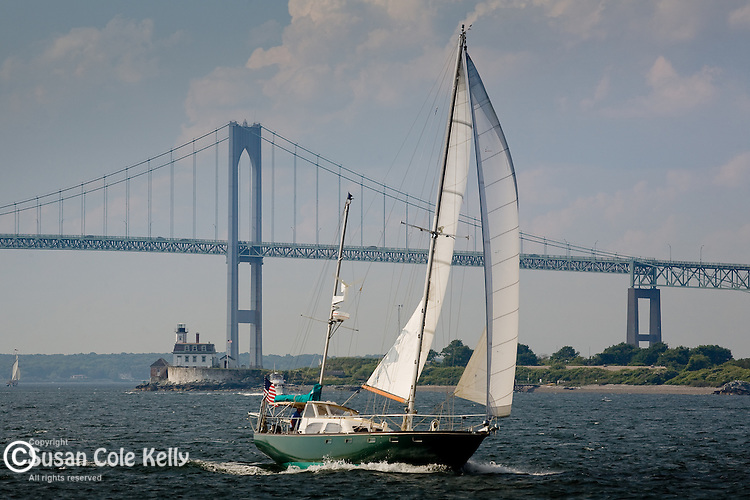 Sailing by the Newport Bridge, Newport, Narragansett Bay, RI, USA
