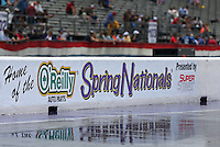 Apr. 27, 2013; Baytown, TX, USA: Overall view of the NHRA track during a rain delay to qualifying for the Spring Nationals at Royal Purple Raceway. Mandatory Credit: Mark J. Rebilas-