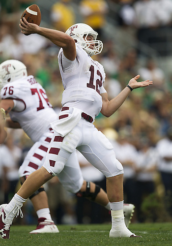 August 31, 2013:  Temple quarterback Connor Reilly (12) throws pass during NCAA Football game action between the Notre Dame Fighting Irish and the Temple Owls at Notre Dame Stadium in South Bend, Indiana.  Notre Dame defeated Temple 28-6.