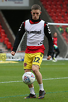 Fleetwood Town's Ashley Hunter during the pre-match warm-up <br /> <br /> Photographer David Shipman/CameraSport<br /> <br /> The EFL Sky Bet League One - Doncaster Rovers v Fleetwood Town - Saturday 6th October 2018 - Keepmoat Stadium - Doncaster<br /> <br /> World Copyright © 2018 CameraSport. All rights reserved. 43 Linden Ave. Countesthorpe. Leicester. England. LE8 5PG - Tel: +44 (0) 116 277 4147 - admin@camerasport.com - www.camerasport.com