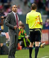 CARSON, CA – June 3, 2011: Chivas USA head coach Robin Fraser expresses his thoughts to the ref during the match between Chivas USA and Portland Timbers at the Home Depot Center in Carson, California. Final score Chivas USA 1, Portland Timbers 0.