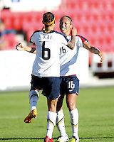 Angela Huckles (16) celebrate the third goal with Natasha Kai (6). USA 4,  Norway 0, Fredrikstad Stadium, July 2, 2008.