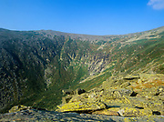 Tuckerman Ravine from Lion Head Trail in Sargent's Purchase in the New Hampshire White Mountains; this area is part of the Presidential Range. Tuckerman Ravine is named for Professor Edward Tuckerman, a botanist and early explorer of the White Mountains. Lion Head Trail is a popular route to Mount Washington.