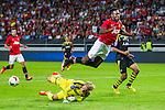 Solna 2013-08-06 Football Friendly Game , AIK - Manchester United FC :  <br /> Manchester United 19 Danny Welbeck f&aring;r en flygtur i smaband med en m&aring;lchans som AIK m&aring;lvakt goalkeeper 35 Patrik Carlgren r&auml;ddar upp<br /> (Foto: Kenta J&ouml;nsson) Nyckelord: