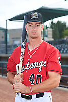 Billings Mustangs outfielder TJ Hopkins (40) poses for a photo before a Pioneer League game against the Grand Junction Rockies at Dehler Park on August 15, 2019 in Billings, Montana. Billings defeated Grand Junction 11-2. (Zachary Lucy/Four Seam Images)