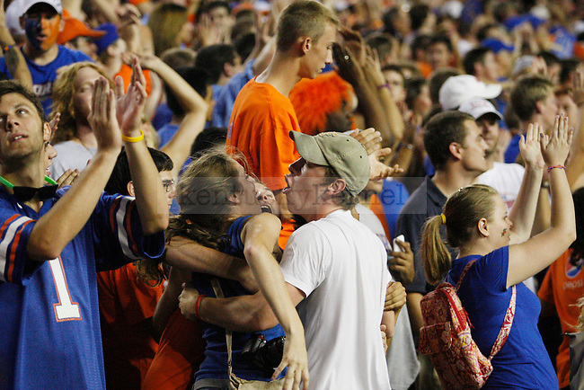 "Gator fans celebrate after another touchdown is scored in the second half of UK's loss to the Florida Gators at the ""Swamp"" on Saturday, Sept. 25, 2010 Photo by Britney McIntosh 