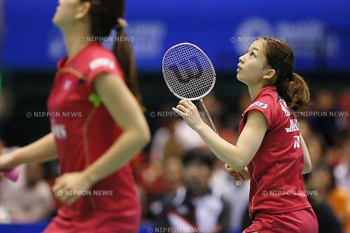 (L-R) Ayaka Takahashi, Misaki Matsutomo (JPN), June 15, 2014 - Badminton : Yonex Open Japan 2014 Women's Doubles final at Tokyo Metropolitan Gymnasium, Tokyo, Japan. (Photo by Yusuke Nakanishi/AFLO SPORT) [1090]