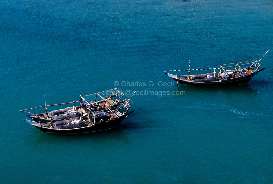 Sur, Oman.  Dhows (Fishing Boats) in the Harbor.