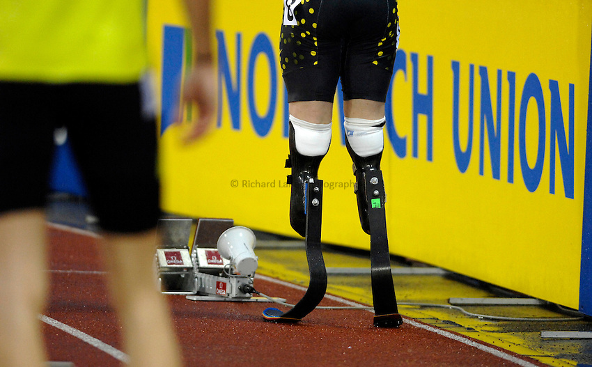 Photo: Richard Lane/Richard Lane Photography..Norwich Union British Grand Prix, Sheffield. 15/07/2007. .Oscar Pistorius (the Blade Runner) of South Africa prepares for his first Grand Prix meeting against able bodied athletes in the men's 400m.