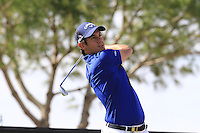 Matteo Manassero (ITA) tees off the 13th tee during Thursday's Round 1 of the 2016 Portugal Masters held at the Oceanico Victoria Golf Course, Vilamoura, Algarve, Portugal. 19th October 2016.<br /> Picture: Eoin Clarke   Golffile<br /> <br /> <br /> All photos usage must carry mandatory copyright credit (© Golffile   Eoin Clarke)