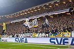 Solna 2014-03-31 Fotboll Allsvenskan AIK - IFK G&ouml;teborg :  <br /> Banderoll med hyllning av AIK supportrar till den Djurg&aring;rden supporter som avled i Helsingborg i samband med premi&auml;ren av fotbollsallsvenskan i s&ouml;ndags<br /> (Foto: Kenta J&ouml;nsson) Nyckelord:  AIK Gnaget Solna IFK G&ouml;teborg Bl&aring;vitt banderoll hyllning supporter fans publik supporters