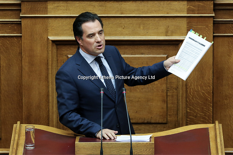 """Pictured: Adonis Georgiadis, deputy leader of the New Democracy party addresses the Greek Parliament. STOCK PICTURE<br />Re: New Democracy vice president Adonis Georgiadis said that a letter bomb sent in his name to German Finance Minister Wolfgang Schaeuble  proved that the Greek postal service (ELTA) is in """"shambles.""""<br />Georgiadis said that """"the envelope was eventually stopped at a place where serious inspections are carried out, proving that ELTA and all the other services it went through are in shambles.""""<br />The parcel addressed to Schaeuble and labeled as being sent by Georgiadis was intercepted at the German Finance Ministry. Bomb experts found that it contained an explosive material similar to that used in fireworks, which could have caused serious injuries if the parcel had been opened."""