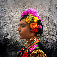 "A Mexican ""Muxe"" (a homosexual man wearing female clothes) is seen during the traditional procession to the house of ""Mayordomo"" in Juchitán de Zaragoza, Oaxaca, Mexico, 17 November 2018."