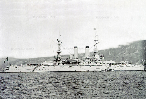 Yashima was an warship of the early Imperial Japanese Navy in Meiji Period. She was Battled Russo-Japanese War. Circa 1905. (Photo by Kingendai Photo Library/AFLO)