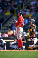 Boston Red Sox second baseman Sean Coyle (80) at bat during a Spring Training game against the Pittsburgh Pirates on March 9, 2016 at McKechnie Field in Bradenton, Florida.  Boston defeated Pittsburgh 6-2.  (Mike Janes/Four Seam Images)