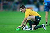 9th September 2017, nib Stadium, Perth, Australia; Supersport Rugby Championship, Australia versus South Africa; Bernard Foley of the Australian Wallabies lines up his kick during play in the first half