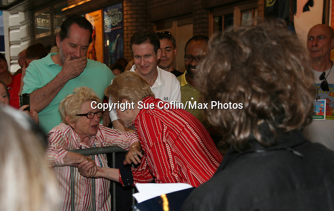 """Dr. Ruth and Blithe Spirit's Angela Lansbury at Broadway Barks 11 - a """"Pawpular"""" star-studded dog and cat adopt-a-thon on July 11, 2009 in Shubert Alley, New York City, NY. (Photo by Sue Coflin/Max Photos)"""