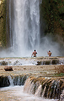 8/2/09 Havasupai-- Campers cool off in Mooney Falls, one of the the Havasupai waterfalls. The falls is 220 feet tall, higher than Niagra Falls.  (Pat Shannahan/ The Arizona Republic)