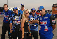 Nov 4, 2007; Pomona, CA, USA; NHRA pro stock driver (from left) Jason Line, Justin Humphreys, Kim Anderson, Allen Johnson and Greg Anderson during the Auto Club Finals at Auto Club Raceway at Pomona. Mandatory Credit: Mark J. Rebilas-US PRESSWIRE