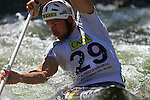 06.07.2013 La Seu D'Urgell, Spain. ICF Canoe Slalom World Cup. Picture show Jane Michal (CZE) in action during canoe single C1 men Final at Parc Olimpic del Segre