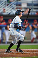 Hudson Valley Renegades second baseman Miles Mastrobuoni (9) at bat during a game against the Batavia Muckdogs on August 1, 2016 at Dwyer Stadium in Batavia, New York.  Hudson Valley defeated Batavia 5-1.  (Mike Janes/Four Seam Images)