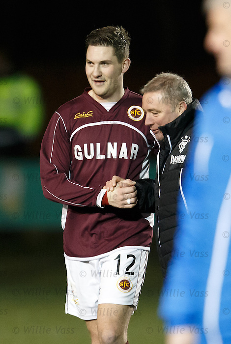 Ally McCoist hugs John Gemmell after the final whistle
