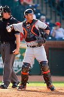 Delmarva Shorebirds catcher Steel Russell (19) throws the ball back to his pitcher during the game against the Greensboro Grasshoppers at NewBridge Bank Park on May 26, 2013 in Greensboro, North Carolina.  The Grasshoppers defeated the Shorebirds 11-2.  (Brian Westerholt/Four Seam Images)