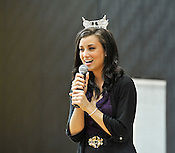 Miss Wisconsin Laura Kaeppeler sings during an appearance at Blessed Sacrament School in Milwaukee on Thursday, Oct. 6, 2011. Ernie Mastroianni photo.
