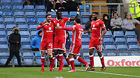 Alex Gilbey (far left) celebrates scoring MK Dons opening goal during Oxford United vs MK Dons, Sky Bet EFL League 1 Football at the Kassam Stadium on 1st January 2018