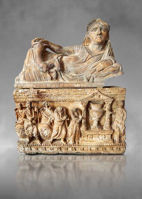 Etruscan Hellenistic style cinerary, funreary, urn , inv no 5774,  National Archaeological Museum Florence, Italy , grey art background