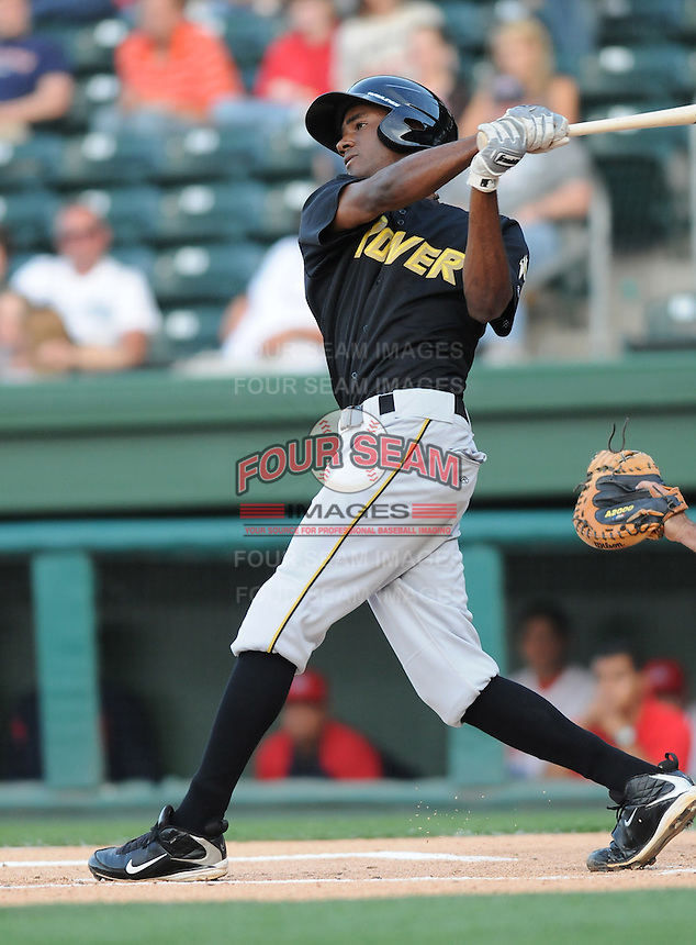 Infielder Jesus Brito (34) of the West Virginia Power, Class A affiliate of the Pittsburgh Pirates, at a game against the Greenville Drive April 29, 2010, at Fluor Field at the West End in Greenville, S.C. Photo by: Tom Priddy/Four Seam Images